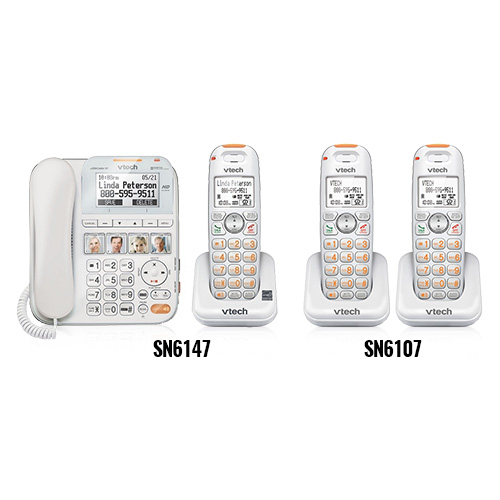 VTech SN6147 + (2) SN6107 Corded Cordless CareLine Bundle