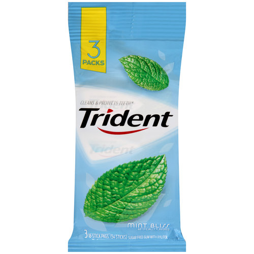 Trident Mint Bliss Sugar Free Gum, 18 pieces, 3 count