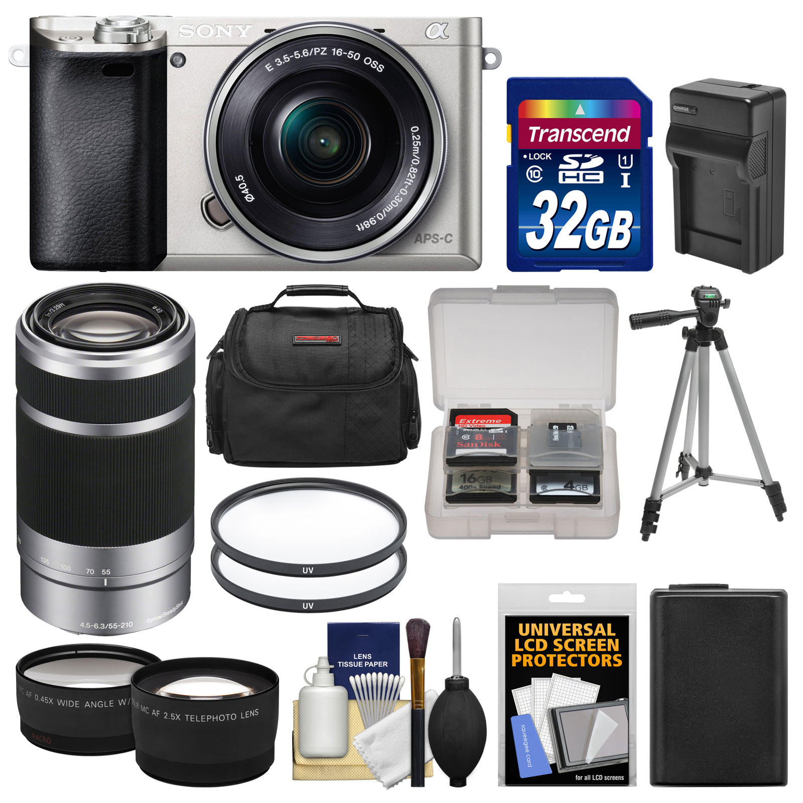 Sony Alpha A6000 Wi-Fi Digital Camera & 16-50mm Lens (White) with 55-210mm Lens + 32GB Card + Case + Battery/Charger + Tripod + Tele/Wide Lens Kit