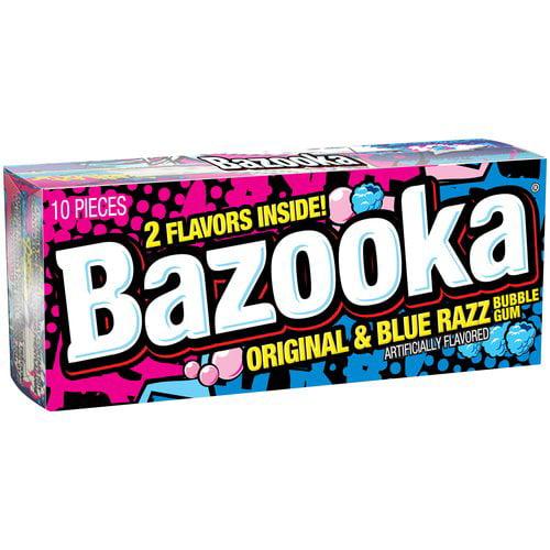 Bazooka Original & Blue Razz Bubble Gum, 10 pieces