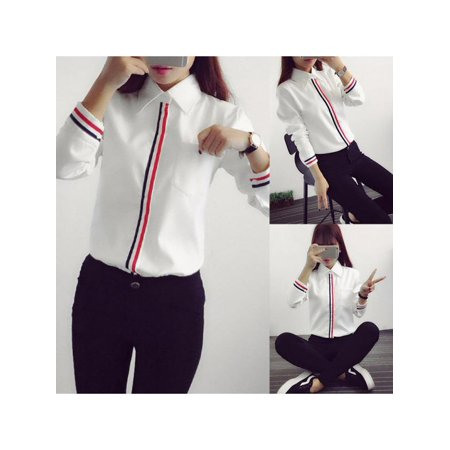 Topumt Women's Office Ladies Long Sleeve Formal Button Down Shirt Tops -