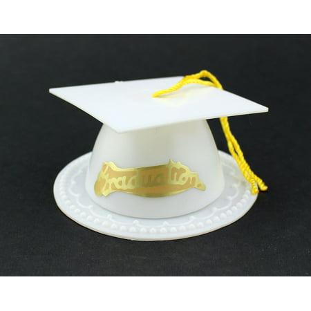 White Graduation Cap Favor Box 3.5 Inch Graduation Favor 12 Pieces](Graduation Hat Favor Boxes)