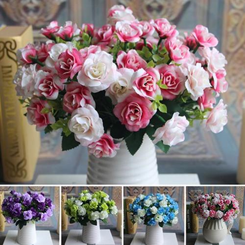 Micelec 15 Heads Fake Silk Flowers Bouquet Artificial Rose Wedding Floral Plant Decor