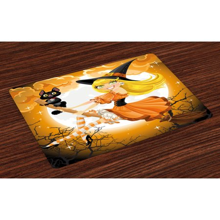 Halloween Placemats Set of 4 Cute Sexy Witch on a Broom with Baby