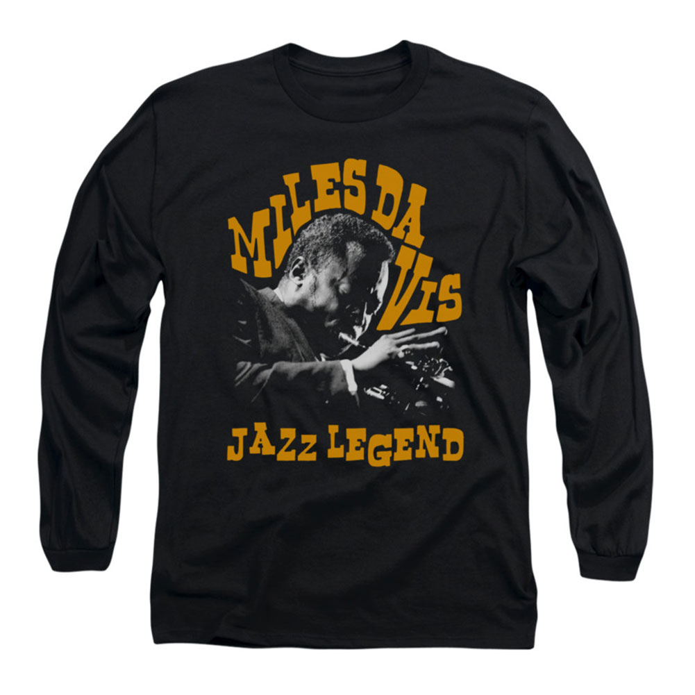 Miles Davis Men's  Jazz Legend  Long Sleeve Black