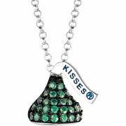 "Hershey's Kisses Women's CZ Sterling Silver Small Flat Back May (Black Rhodium) Pendant, 16"" with 2"" Extension"