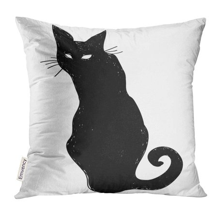 USART Animal Black Silhouette of Sitting Cat Crow Characters Halloween Beautiful Pillow Case 20x20 Inches Pillowcase - Halloween Crow Silhouette