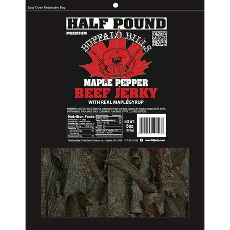 Buffalo Bills 8oz Premium Maple Pepper Beef Jerky Pieces (one half pound bag in random size pieces) (Pound Jerky)
