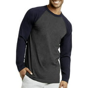 DailyWear Mens Casual Long Sleeve Plain Baseball Cotton T Shirts (Navy/C.Grey, Small)