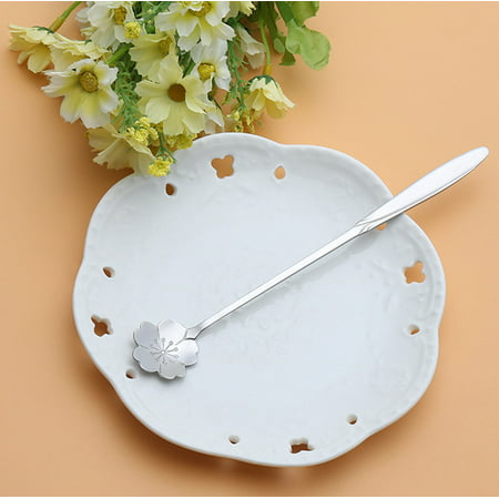 Vintage Flower Shape Icecream Tea Coffee Spoon Small Condiment Spoons Sugar Soup