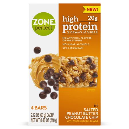 ZonePerfect Nutrition High Protein Snack Bars, Salted Peanut Butter Chocolate Chip, 20g Protein, 16 Ct