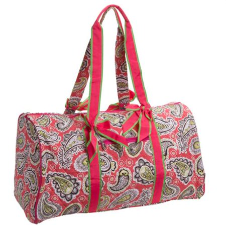 Belvah Quilted Fuschia Paisley Large Duffle Bag Travel Bags Storage Totes New