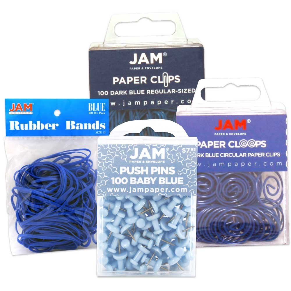 JAM Paper® Office Supply Assortment Pack - Blue - (1) Rubber Bands (1) Push Pins (1) Paper Clips (1) Round Paper Cloops - 4/pack