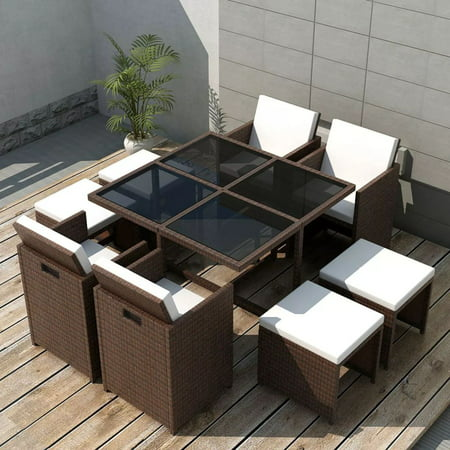 Outdoor Dining Set 21 Pieces Brown Poly Rattan ()