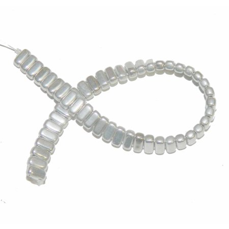 Silver Brick 3x6mm Square Glass Czech 50 Two Hole, Loose (Silver Foil Round Glass Beads)
