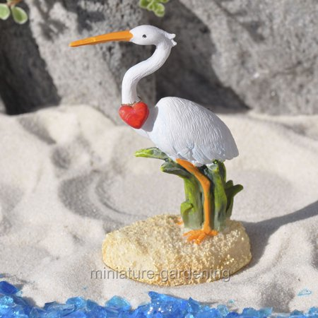 Miniature Crane with Heart for Miniature Garden, Fairy Garden