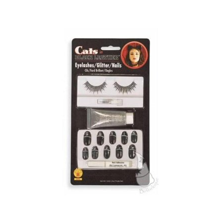 Black Cat Nails Costume Accessory Kit - Halloween Cat Costume Nails