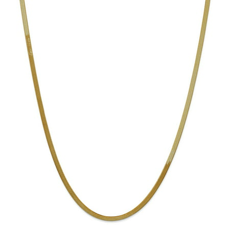 14k Solid Gold 3.0mm Silky Herringbone Chain Necklace