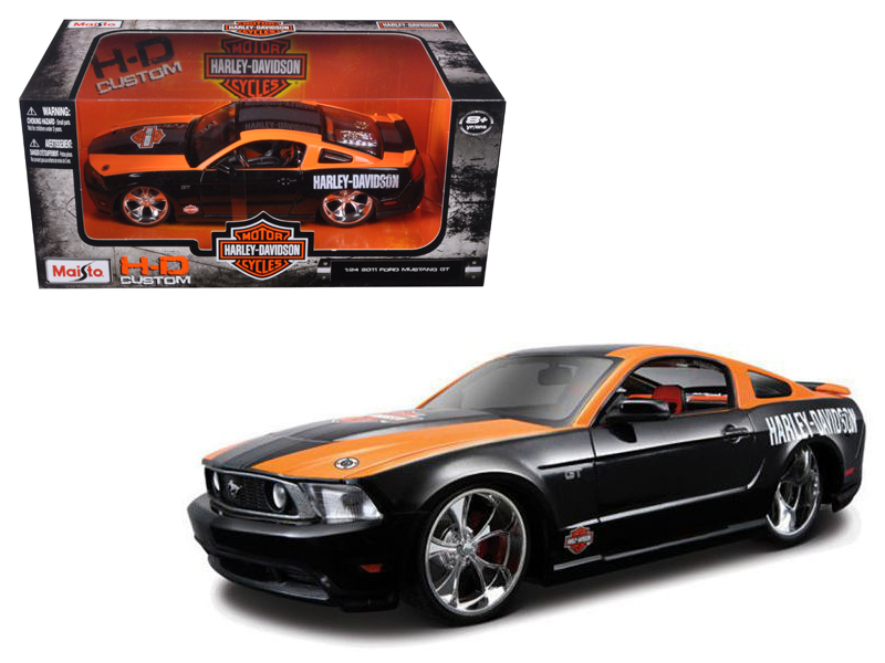 2011 Ford Mustang GT Harley Davidson Black With Orange 1 24 Diecast Model Car by Maisto by Maisto