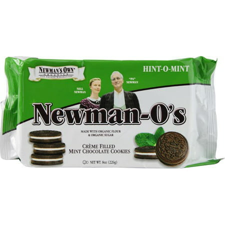 (2 Pack) Newman's Own Organics Newman-O's Creme Filled Cookies Mint Chocolate 8 oz