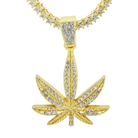 14K Gold Plated Iced Out Hip Hop Bling Marijuana Weed 420 Leaf Pendant 1 Row Square Cubic Zirconia Princess Cut Stones Tennis Chain 18