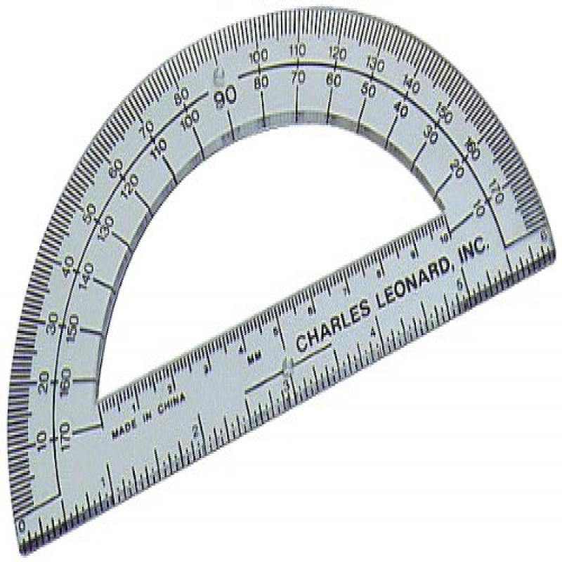 Charles Leonard Inc. 6-Inch Open Center Protractor, Clear Plastic, 12-Count (77106)