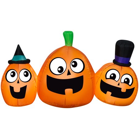 Diy Halloween Scene Setters (Halloween Airblown Inflatable Jack-o-Lantern Scene 5FT Wide by Gemmy)