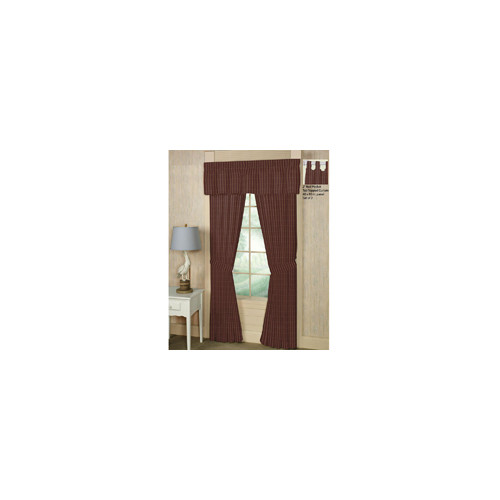 Patch Magic Deep Red with Tan Stripe Curtain Panels (Set of 2)
