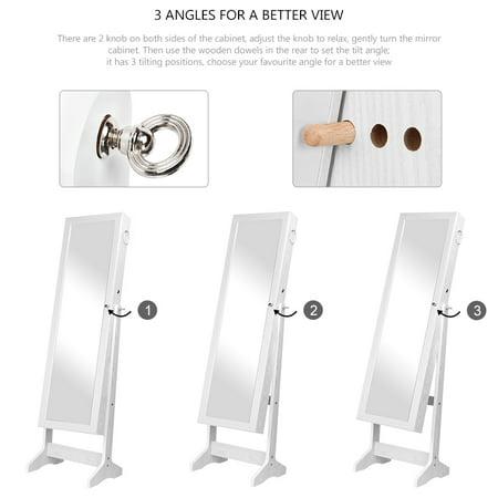 Armoire à bijoux en bois pour bijoux avec miroir et rangement pour organisateur réglable à 3 angles, blanc - image 3 de 7