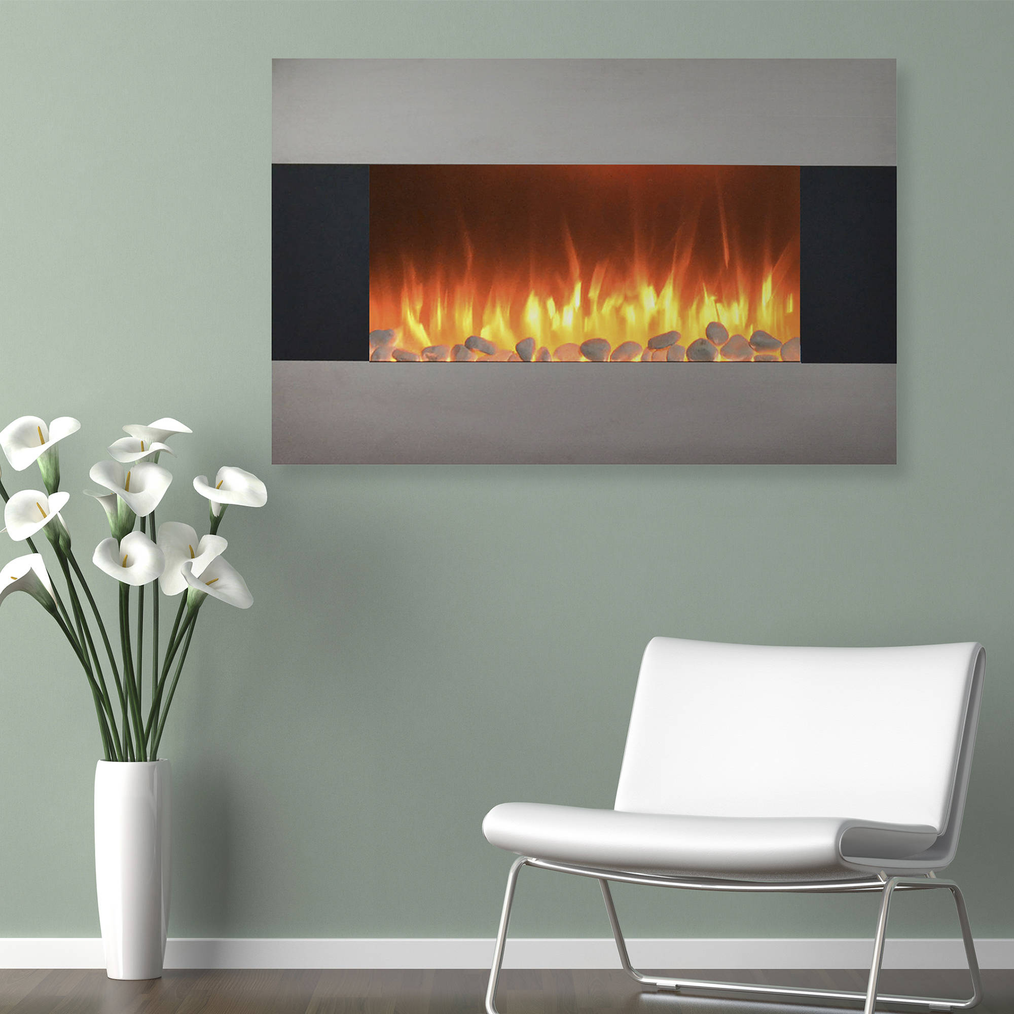 stainless steel electric fireplace with wall mount and floor stand and remote 36 inch by
