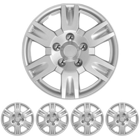 "BDK Nissan Altima Style Hubcaps Wheel Cover, 16"" Silver Replica Cover, 4 Pieces"