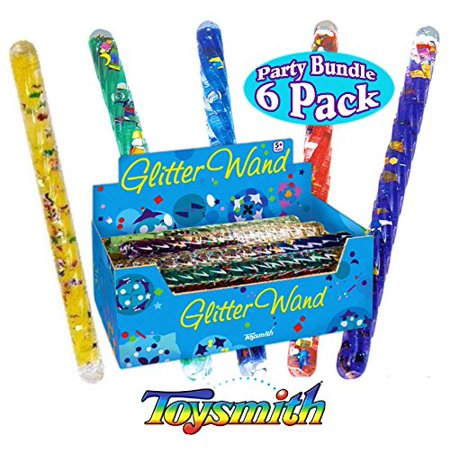 Online Party (Toysmith Mini Spiral Glitter Wands (6.5 Inches) Complete Gift Set Party Bundle - 6 Pack)