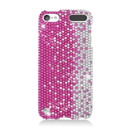 Rhinestone Ipod Touch Case (Insten Rhinestone Diamond Bling Hard Snap-in Case Cover For Apple iPod Touch 5th Gen, Hot Pink/Silver)