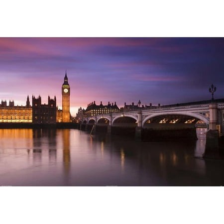 Buy Art For Less 'London Big Ben Clock Tower and Bridge' by Corbis Photographic Print on Wrapped Canvas
