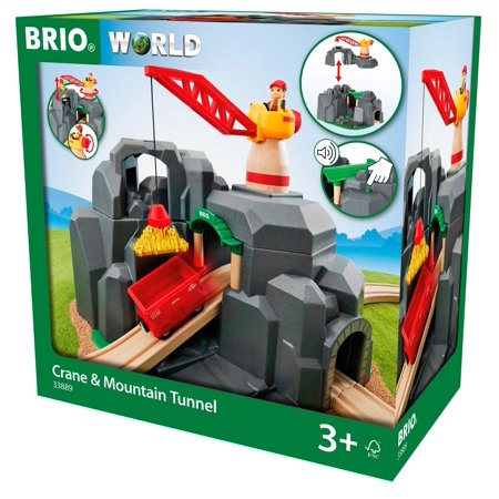 Brio Crane & Mountain Tunnel Wooden Toy Train Set for Kids Ages 3 Years and Up - Made with European Beech Wood and Works with All Wooden Railway Sets (Brio Sky Train)