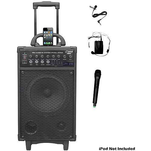 Pyle PWMA890UI 500W Dual Channel Wireless Rechargeable Portable PA System