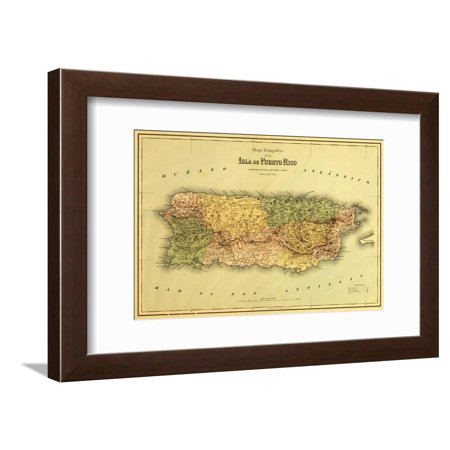 Puerto Rico - Panoramic Map Antique Framed Print Wall Art By Lantern Press Antique Framed Print