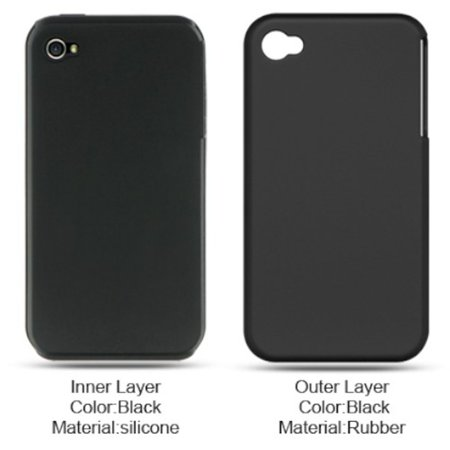 85w Apple - iPhone 4 case by Insten For Apple iPhone 4 Black Hard Silicone Hybrid Rubberized Case