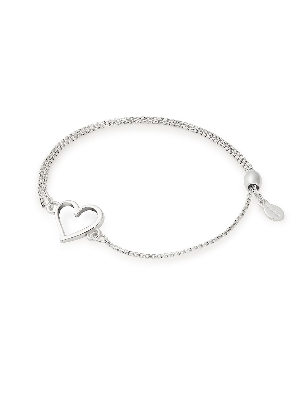 Sterling Silver Heart Pull Chain Bracelet