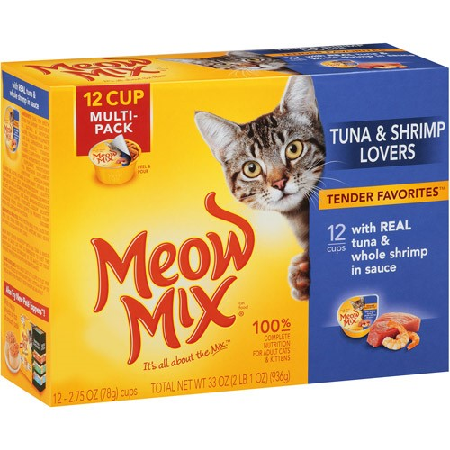 Meow Mix Tender Favorites With Real Tuna & Whole Shrimp in Sauce