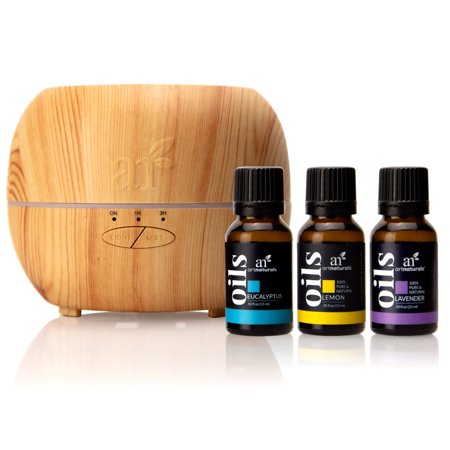 ArtNaturals Essential Oil Diffuser with Lavender, Eucalyptus and Lemon ( 150ml Tank with 3 x 15ml oils) - Aromatherapy Set for Home, Office & Bedroom