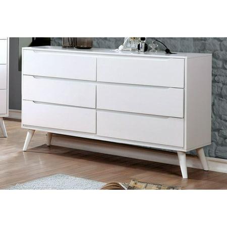 Sauv Wooden Mid-Century Modern Style Dresser, White