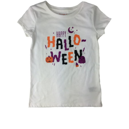 Happy Halloween Pumpkins White (Girls White Purple Orange & Black Happy Halloween Pumpkin Candy Holiday)