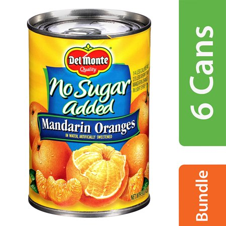 (6 Pack) Del Monte No Sugar Added Mandarin Oranges in Water, 15 oz Orange No Sugar