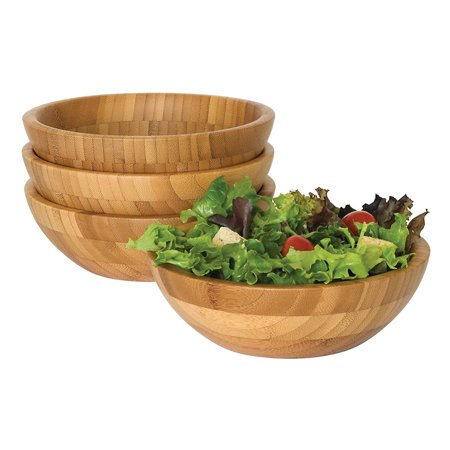 Lipper International Bamboo Small Salad Bowls, 4-Piece Set Aqua Salad Bowl
