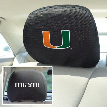 FANMATS NCAA University of Miami Hurricanes Polyester Head Rest Cover (Set of 2) - image 1 de 3