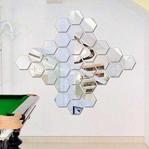 YOSOO 12pcs Modern Acrylic 3D Hex Mirror Wall Stickers DIY Mural Art Craft Home Living Room Bedroom Décor