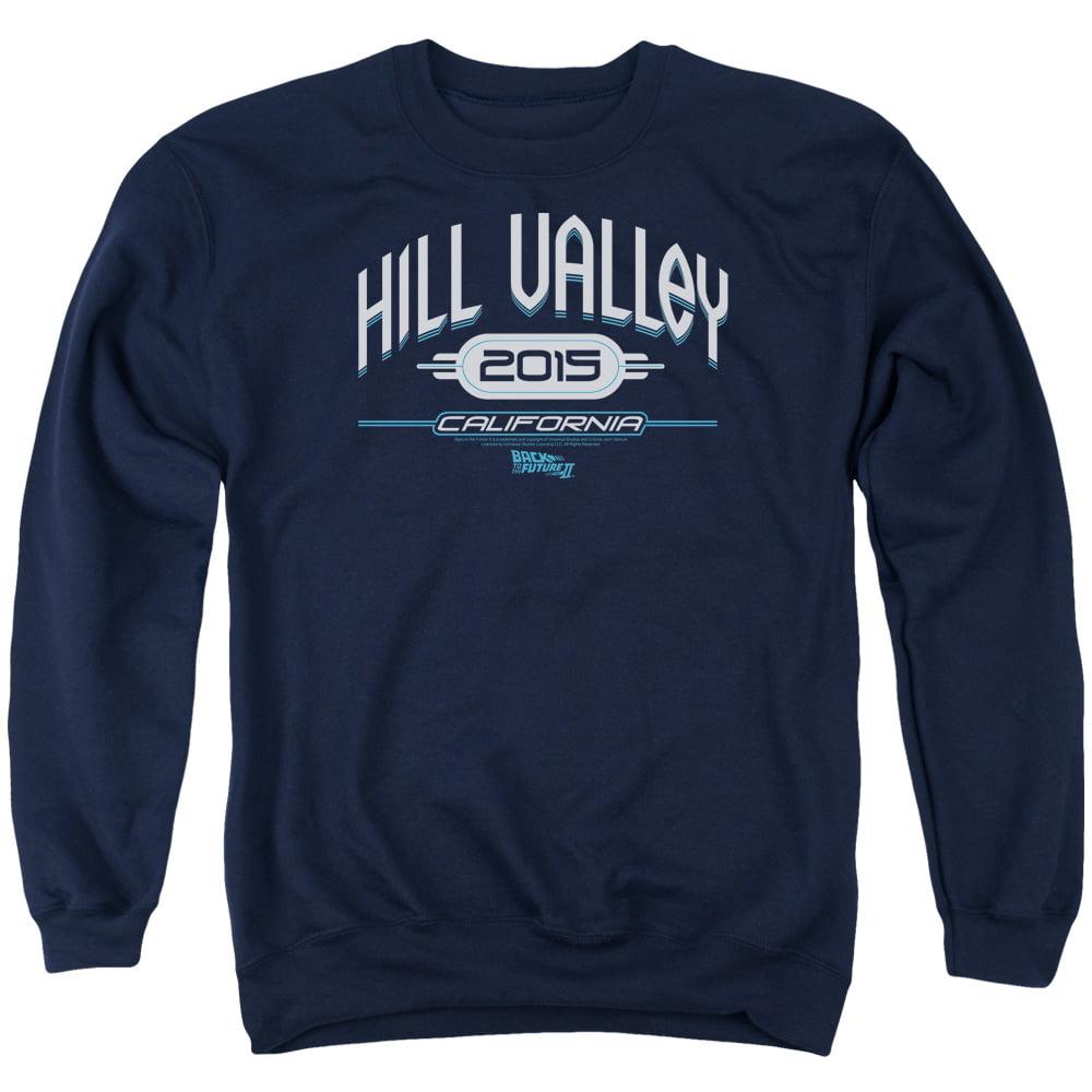 BACK TO THE FUTURE II/HILL VALLEY 2015 - ADULT CREWNECK SWEATSHIRT - NAVY - 3X