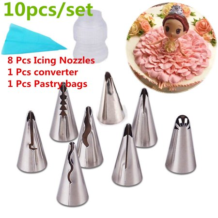 8 Pcs Icing Nozzles + 1 Pcs converter+ 1 Pcs Pastry bags,Russian Cake Icing Piping Nozzles Set Tools Kit ,Pastry Cookie Sugar Macaron Cupcake Decorating Supplies Tips Kits Toll for - Cookie Decorating Tools