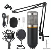 Peroptimist Condenser Microphone Bundle, Mic Kit with Adjustable Mic Suspension Scissor Arm, Metal Shock Mount and Double-layer Pop Filter for Studio Recording and Broadcasting